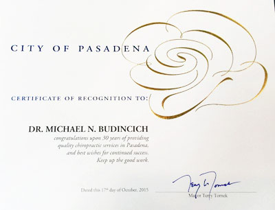 Dr. Budincich, recieved Pasadena award